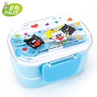 Wholesale Palastic cartoon microwave kids lunch box large capacity fruit food Sushi two layer with spoon and fork