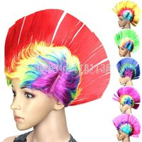 Wholesale Colourful Cockscomb Hair Halloween Party Wigs Ccockcrow Hair COSPLAY Wig Cheap Cosplay Wwigs for Men