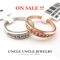 Women's d-ring - 18K Rose Gold Plated Austrian Rhinestones Classic Must have Simple Lady Finger Ring KRGP Stamp