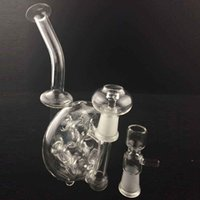 Wholesale Snail Recycler Bubbler Bongs quot inch Stage Swiss Perc Water Pipes Holes Two Function Glass Oil Rigs Circular Dabbers Hookah Shisha