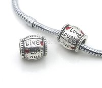 Wholesale x10mm alloy heart design love laugh Big Hole Loose Beads fit European Pandora Jewelry Braclet Charms DIY
