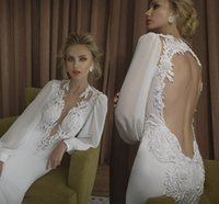 balloon sleeve dresses - Plunging Neck Wedding Dresses Balloon Sleeves Lace Appliques Beaded Stunning Mermaid Wedding Gowns Beading Hollow Back Sexy Bridal Gowns