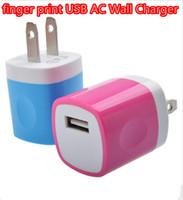 adapter print - Mini USB finger print Wall Charger USB AC Wall Charger Home Travel Charger Adapter For Samsung iPod iPad Smartphones LG HTC