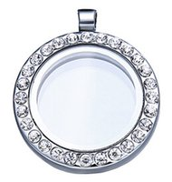 Cheap 25mm Floating locket Living memory glass CZ crystal Paved Round Circle pendant charms necklace DIY accessory