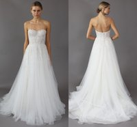 Wholesale 2016 Backless Wedding Dresses Mira Zwillinger Sexy Sweetheart A Line Appliques Lace Beaded On Top Beach Bridal Gowns