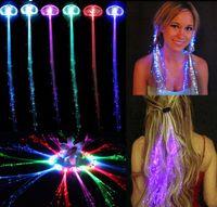 Wholesale New Flash LED Braid Colorful Luminous Fahsion Headdress Light Up Fiber Optic Hair Pigtail Plait For Party Festival Props Xmas Club Bar