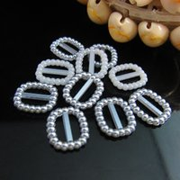 Wholesale Rounded Rectangle Shape Buckle x13mm Silver Gray Imitation Rounded Rectangle Shape Buckle Flatback Pearls