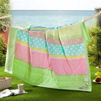 Wholesale 100 Cotton Double Green Printing Quilt with Air Conditioning Room And A Nap Full Queen Size TL06