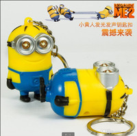 Wholesale 3D cartoon Despicable Me Cute Minion LED Keychain Key Chain Ring Flashlight Torch Sound Toy Promotion Novelty Gift Lover children christmas
