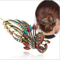 metal peacock hair clip achat en gros de-Clip de cheveux Retro Strass Crystal Hollow Peacock Décoration Épingle à cheveux Metal The Phoenix puckbill clips Bohemia Livraison gratuite