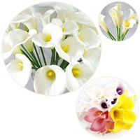 Display Flower beautiful lily - Natural Beautiful Calla Lily Bridal Wedding Bouquet head Latex Real Touch Artificial Flower Multicolor Bouquet Artificial PU Calla Lil