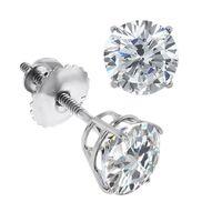 0.60 - Ct Round Cut K White Gold Diamond Stud Earrings Screwback