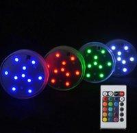 10 LED de varios colores de la boda a prueba de agua sumergible Partido Decoración Floral Vase Base Luz sumergible luz + Remote LED