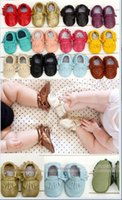 Wholesale Multy Color Baby moccasins soft sole genuine leather first walker shoes baby leather newborn shoes Tassels maccasions shoes V010