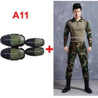 Cheap woodland hunting clothing airsoft camouflage suit military uniform paintball equipment military clothing combat shirt + pants with knee pads