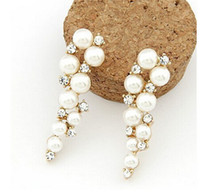 beaded earrings for sale - Hot Sale Cheap New Arrival White Beaded Pearl crystals Bridal earrings for wedding Jewelry sets Accessories