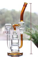 amber colored glass - Honeycomb Percolator And Double Recycler Oil Rig Glass Bong Amber Colored JOint Water Smoking Pipes