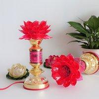Wholesale inch LED crystal red large lotus lamp Buddha Buddha lamp for light long light worship Buddha lamp Buddhist supp