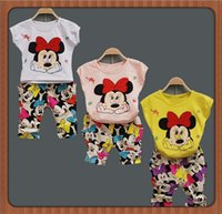 Cheap Cute Cartoon Fashion Baby Clothing Set Summer Girls Boys Minnie Mouse Printed T-shirt Tops+Long Pants Children Outfit 4328