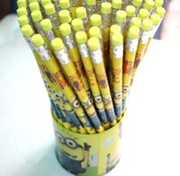 Wholesale Pack wooden cartoon Despicable Me holder pencil With Eraser Gift