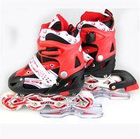 adult outdoor roller skates - New arrival adult child roller skates girls amp boys outdoor sports flash inline skating shoes PU wheel