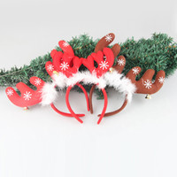 bell band - Christmas Headband Christmas Dress Up Lovely Headgear Elk Horn Jingle Bells Head Hoop Hair Band for Festival Party Performance Supplies Gift