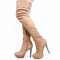 over knee high heel boots - Camel Thigh High Heel Boots For Women Shoes Lady Faux Suede Boot Handmade Sexy Over The Knee Shoes Leather Boots Women New Arrival