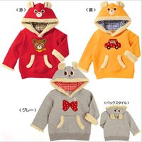 Wholesale Bowknot Bear Baby Boys Girls Hoodie Sweatshirts Jackets Winter Child Clothes Cotton Velvet Thicken Girl Tops Overcoat Red Gray Yellow K2621