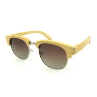 Wholesale Real Bamboo Wood Sunglasses with TAC Polarized Lens Half Rim Frames Men Women Outdoor Vintage Sunglasses Cycling Eyewear wholesales