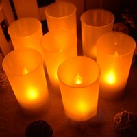 Wholesale 10PC Semitransparent Cup Tea Light Hot Romantic Flameless Blow Shake Sound Sensor LED Candle Light