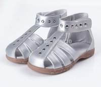 cinnamon - SandQ baby girls sandals genuine leather toddler shoes silver pink white cinnamon velcro closed toe summer Rome sandals studs customize
