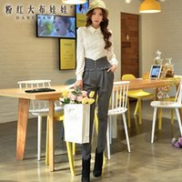 Wholesale Dabuwawa New Office Lady s Elegant High Waist Pleated Ruffles Decorated Slim Long Black Pants With Buttons