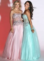 Cheap 2015 Strapless Crystal Ball Gown Prom Dresses 71453 Floor Length Tulle Backless Pleat Beading Popular Aqua Sexy Formal Evening Pageant Gowns