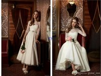 A-Line beads on line - 2015 A Line Tea Length Poet sleeve Wedding Party Dresses Lace Short Bride Dresses With Beads On Waist Wedding gowns