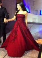 Cheap 2016 New Burgundy Lace Applique Evening Dresses Strapless Long Formal Sexy Party Prom Dresses Exquisite Custom Made Zuhair Murad Gowns