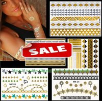Wholesale Gold Silver Metalic glitter Temporary Tattoos Charm Jewelry Stickers sexy Body eye face back neck waterproof Art Tattoo sticker