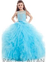 Cheap Sky Blue Ball Gown Little Girls Pageant Prom Dresses Flower Girl Dress For Weddings With Sheer Scoop Ruffled Beaded Kids Graduation Gown#G1