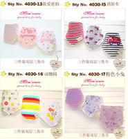 Wholesale 100 Cotton Bibs Toddler Bandages Dribble Baby Burp Cloths Triangular Bibs Button Newborn Children Snap Y