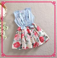 floral print dress - Kids Girls Soft cotton Print Floral Dresses Baby girl sleeveless white rose tutu princess dress
