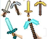 Wholesale Minecraft Foam Diamond Sword and Pickaxe Combo Set weapons EVA axe Foam diamond pick Gold Grey Blue Christmas Gift by DHL