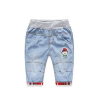 Wholesale summer new style kid s clothing boy s fashion solid color jeans pants all match casual knee length pants KZ