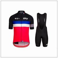 Wholesale Sky Cycling Jersey Set Short Sleeve With Padded Bib None Bib Black Trousers Black Red Cycling Jerseys Close Fitting Suit XS XL