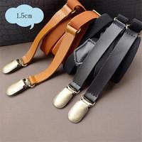 Wholesale Korean Style Retro Leather Suspenders Leather Material Elastic Brace Belts for Girls Boys Designer Clip On Suspenders JJX1400068