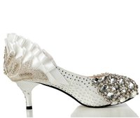 Wholesale High quality pearl bride shoes With a rose bud silk wedding wedding shoes In Europe and the United States now available