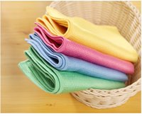 Wholesale Magic Glass Cleaning Cloth Traceless Easy Wipe Rag Non Debris Lint Free Scale Fish Skin Grid Rags cm