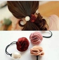 Wholesale Flower and Simulated pearl elastic Headband Hair rubber for Women hair Accessories Hair Ornaments FD183