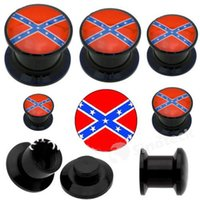 Wholesale In Stock Rebel Flag design Black Acrylic Stash Screw Ear Plugs Rebel Flags Ear Plug Mixed Sizes mm mm High Quality