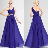 al por mayor bridesmaid dress in china-2016 Púrpura de un hombro vestidos formales Gasa larga del banquete de boda vestido de dama de la correa del Rhinestone de China Tienda Online B2176