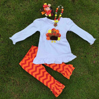 turkey - 2015 new arrival thanksgiving white outfits turkey outfits Girl Boutique clothes with necklace and bow