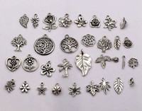 tree jewelry charms - Hot Sale Antique silver mixed flowers trees leaves charm pendants DIY Jewelry style p16